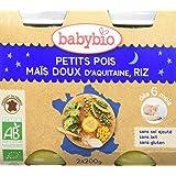 Babybio Pots Petits Pois/Maïs Doux d'Aquitaine Riz 2x200 g - - Bio