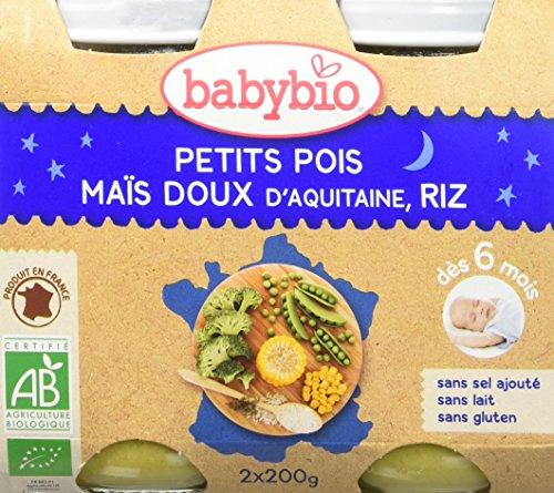 Babybio Pots Petits Pois/Maïs Doux d'Aquitaine Riz 2x200 g - Lot de 6 - Bio