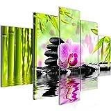 Bilder Orchidee Feng Shui Wandbild 150 x 100 cm Vlies - Leinwand Bild XXL Format Wandbilder Wohnzimmer Wohnung Deko Kunstdrucke Pink 5 Teilig -100% MADE IN GERMANY - Fertig zum Aufhängen 502053a