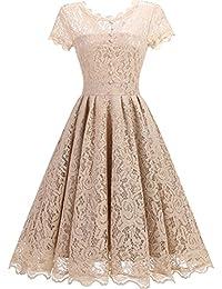 Mallimoda Donna Girocollo Vestito Pizzo Vintage 1950s Slim Floreale A-Line  Vestiti Abiti da Sera 1a8aec99791
