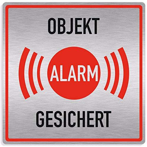 Schild Alarmanlage, Objekt alarmgesichert, 20x20cm, Aluverbund silber gebürstet, edle Optik