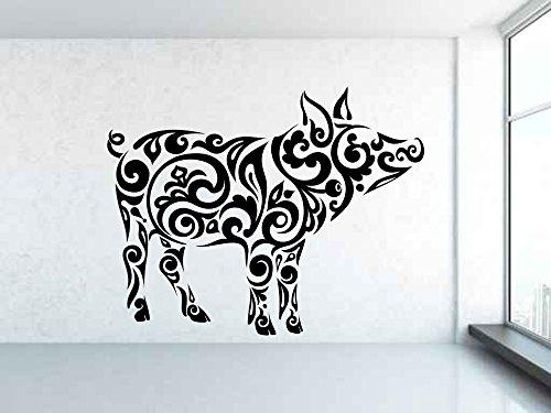 Säugetier Tier Schwein Muster Wandtattoo Vinyl Removable Tribal Muster Chinesische Papierschnitt Stil Innenwandaufkleber