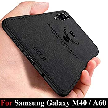 MobiTussion® - Deer Series - Shockproof Anti Slip Soft Fabric Case with with Camera Protection Protective Back Case Cover for Samsung Galaxy M40 / Samsung Galaxy A60 (Black)
