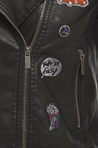 SS7 Femmes Faux Cuir Badge Veste Motard, Noir, Tailles 36 à 44 Noir