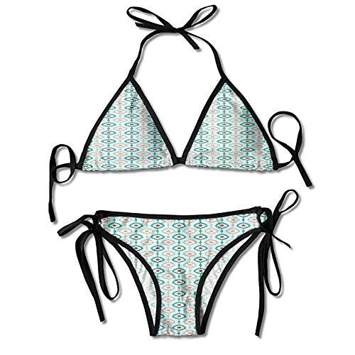 Hot Summer Women's Bikini,Geometric Peacock Tail Eastern Sexy Bikini 2 Pieces
