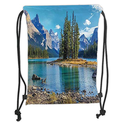 Fashion Printed Drawstring Backpacks Bags,Lakehouse Decor,Scenery of Spirit Island in Maligne Lake Canada in a Summer Time Covered With High Mountains, Soft Satin,5 Liter Capacity,Adjustable Strin -