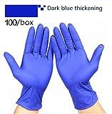Guanti di sicurezza medici monouso giardino lavoro cucina amminica gomma nitrilica domestica blu nero bianco Guanti da laboratorio, guanti da visita monouso per esami medici di qualità ospedaliera, Guanti in nitrile Una scatola da 100 By healthcozy ( Color : Dark blue thickening , Dimensione : XS )