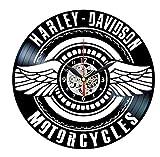 HCPGZ Orologio in Vinile Davidson - Decorazione da Parete in Vinile - Regali Vintage per Uomo Harley Davidson