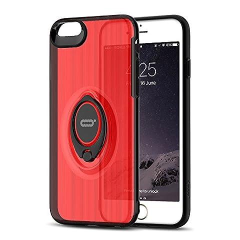 iPhone Crystal Case mit Ring Halter Ständer Funktion von iconflang, 360Grad drehbarer Ring Halter Grip Case für iPhone, Ultra Slim Dünn Hard Cover für iPhone, metall, rot, 6s