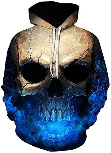 igitaldruck Kapuzenpullover 3D-Druck Hoodie Langarm Pullover Sweatshirts (Größe XXL / 3XL, Schatten Schädel) (Halloween-drucke)