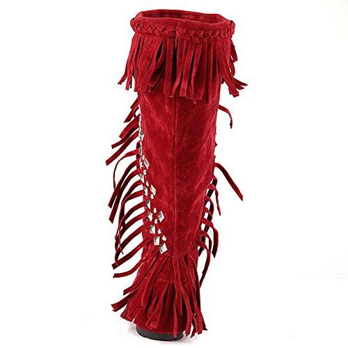 AgooLar Damen Ziehen Auf Rund Zehe Niedriger Absatz Mattglasbirne Stiefel mit Wasser Diamanten Rot