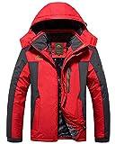 AnyuA Herren Skijacke Windjacke mit Kapuze Fleece Plush Lining Parka Winter Steppjacke Military Stil Übergangsjacke Rot 8XL