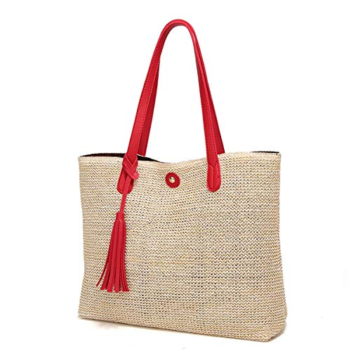 Mini Cute Frauen Tote Straw Bags Top Griff Satchel Handtaschen Strandtasche Leder Quaste Schulter Geldbörse -