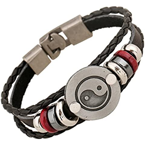 SaySure - Vintage Punk Beads Handmade Woven Black Leather (Black Tortoise Charm)