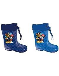 Patrulla Canina Botas de Agua PVC, Color Azul con Cordónes y Cuello, Katiuskas niño