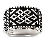 Aden's Jewels-Ring-Silber 7.6 Gr-Herren-Biker-Farbe antikes Silber-Tribal-Size 60