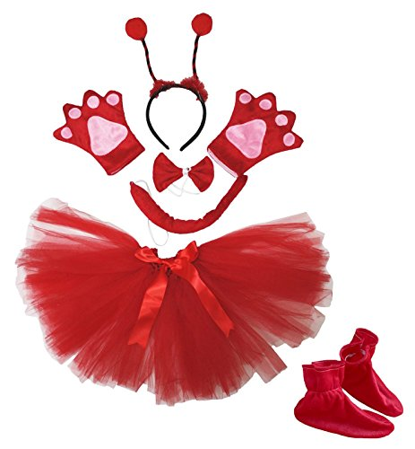 Petitebelle Beetle Stirnband Bowtie Schwanz Handschuhe Schuhe Tutu 6pc Mädchen-Kostüm für Partei Einheitsgröße rot