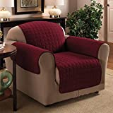 """1 Seater 23"""" x 70.5"""" Burgundy / Wine Quilted Sofa / Arm Chair Protector Water Resistant Finish"""