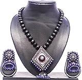 #1: Pentacrafts Terracotta Art designed Women Girl Necklace Set, Color: Black & Blue Cola