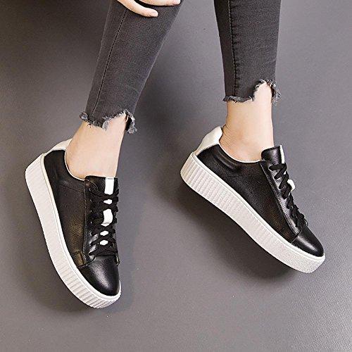 SONGYUNYANEn plein air décontract?College vent cuir coupe-bas féminines chaussures Baskets Mode Black