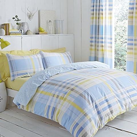 Modern Charlotte Thomas Camden Bedding Duvet Cover Pillowcase Set, Blue - Double Size