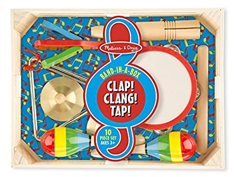 Melissa & Doug 488 Band-in-a-Box Clap, Clang, Tap, Musical Instrument Set - 10 Piece