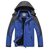 Softshelljacke Herren Gefüttert Funktionsjacke Wasserdicht Atmungsaktiv Wandern Outdoor Jacke Winter Skijacke Blau, Gr. EU-L/Asia-2XL