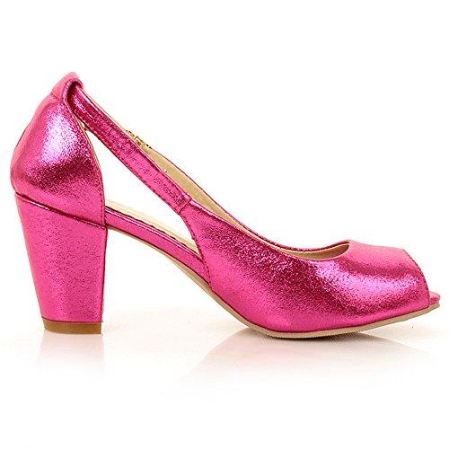 TAOFFEN Femmes Stylish Peep Toe Sandales Talon Bloc Boucle red