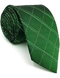 shlax wing Classic Dark Verde único Checkes Corbatas Para Hombres Seda Tie Corbata  Flaca Extra Largo Traje 4e635442cf7