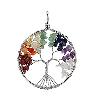 Aituo Amulet Crystal Quartz Tree of Life Pendant for Necklace DIY. 7 Chakra Gemstone Charms for Family.Best Friends By BoutiqueLovin
