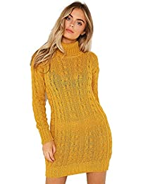 dbbedf8f500 Red Olives New Womens High Polo Neck Chunky Cable Knitted Jumper Mini Tunic  Dress Top 8