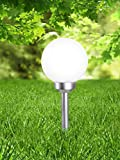 LED Solarlampe mit Erdspieß Wegelampe Solar-Außenleuchte Wegbeleuchtung Schalter Kugel (Gartenlampe, Solarleuchte, Gartenleuchte, Außenlampe, 20 x 52 cm)