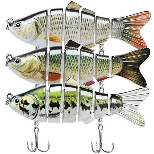 TRUSCEND Leurres Articulés Pêche aux Leurres 10cm Poissons Nageurs pour Le Bar Swimbait Réaliste Appât Dur Coule Lentement Kit de Pêche