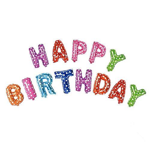 m (41cm) Happy Birthday 13Buchstaben Folie Banner Luftballons, die mit aufblasende Stroh für Geburtstag Party Dekoration und Supplies, Folie, Multi with Polka Dot, 40,6 cm ()