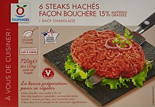 TOUPARGEL - 6 steaks hachés charolais façon bouchère 15% M.G. - 720 g - Surgelé