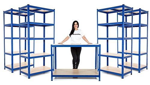 Racking Solutions Regalset mit Werkbank für Kleinbetriebe oder Garagen, mit 4 Fachböden und 1 Werkbank, 600 mm tief
