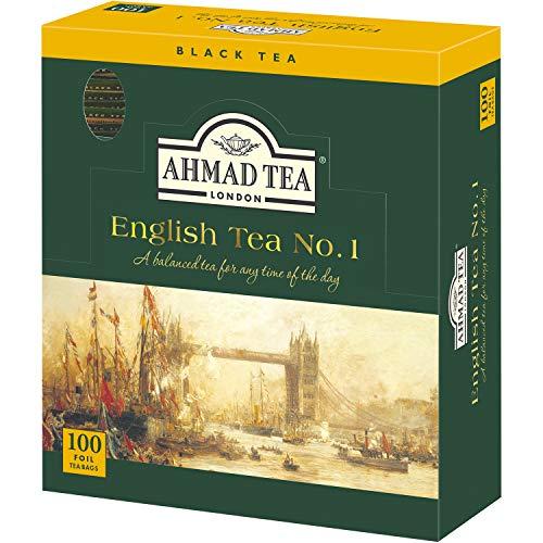 Ahmad Tea - English Tea No. 1 | Schwarzteemischung mit Bergamotte | 100 Teebeutel á 2 g mit Band und aromaversiegelt in Folie verpackt (Ahmad Tea English 1)