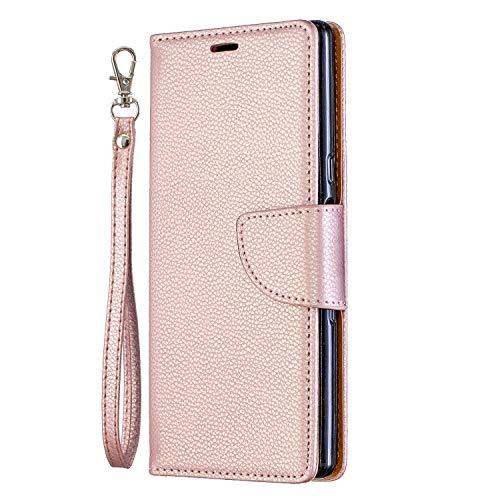 Nadoli für Huawei P Smart Leder Hülle,PU Lederhülle Flip Case Handytasche Brieftasche Magnetischen Standfunktion Schutzhülle für Huawei P Smart,Rose Gold