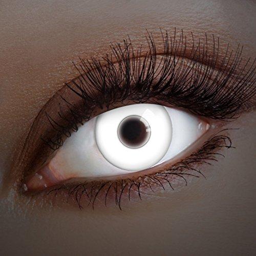aricona Kontaktlinsen Farblinsen UV Kontaktlinsen weiß zum Zombie Kostüm Halloween Schminke