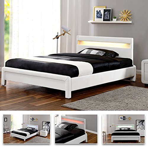 NESH LED Weiß 180x 200cm Polsterbett Doppelbett Bettgestell Bettrahmen mit Lattenrost