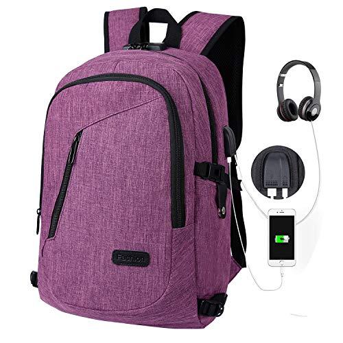 Rucksack Laptop Schulrucksack Reiserucksack Damen Herren Grosse Kapazität Diebstahlsicherung USB-Anschluss & Kopfhörerkabelkanal, Business Daypack Schule Arbeit Reisen (Lila)