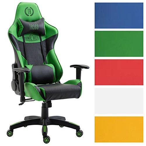 CLP Racing Bürostuhl MONSANO mit Kunstlederbezug, max. belastbar bis 136 kg, Gaming Stuhl, Gaming Chefsessel mit/ohne Fußablage, Wippmechanismus, Schwarz/Grün, ohne Fußablage