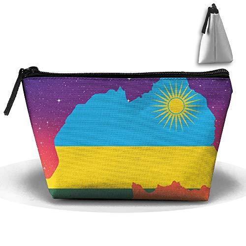 Mapa Bandera Ruanda Maquillaje portátil Recibir Bolsa