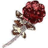 Gazechimp Applique en Forma de Rosa Brillante Accesorios para Coser Costura Manualidad Rojo Elegante