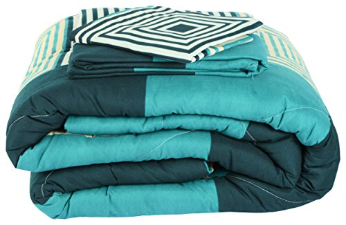 Acmura 4 Piece Comforter Set - 1 Comforter + 1 Double Bed sheet + 2 Pillow Covers (Blue Geometric)
