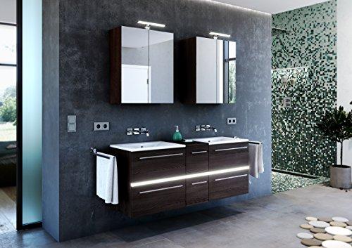 Doppel Waschplatz ,Mineralguss Waschbecken, Spiegelschrank mit Powerbox , LED, MDF Eiche Dekor (Eiche mocca)