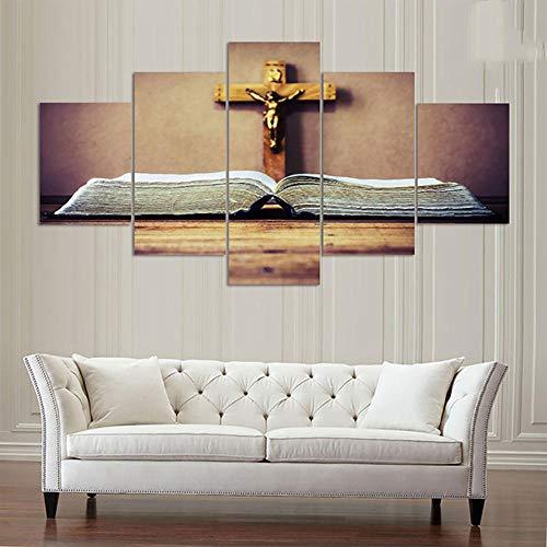 LXBHX Wandkunst Malerei 5, Wandkunst Bild Modulare Poster Leinwand 5 Stücke Kruzifix Von Jesus Christus Moderne Hd Print Malerei Dekoration, Home Moderne Dekorative Öl Print Wohnzimmer DEK 150X80CM
