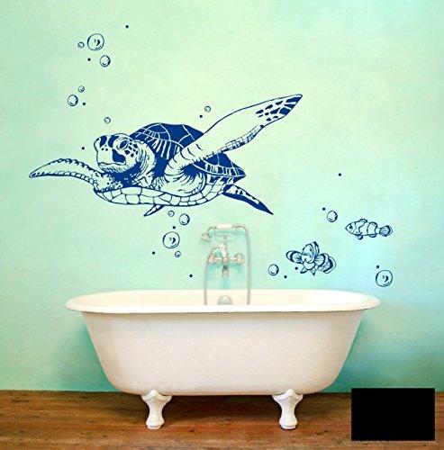 Wandtattoo Wandaufkleber Meeresschildkröte Schildkröte Lotti mit Fischen und Bubbles M1533 - ausgewählte Farbe: *Schwarz* - ausgewählte Größe: L 80cm breit x 36cm hoch