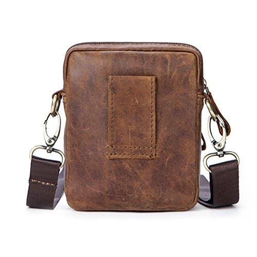 Zhhlinyuan dauerhaft Mens Women Unisex Soft Small Zipper Adjustable First Cowhide Leather Crossbody Shoulder Bag Mobile Phone Belt Pouch Coffee