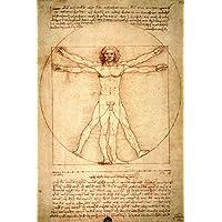 Leonardo Da Vinci - El Hombre De Vitruvio, 1490 Aprox. Póster Impresión Artística (180 x 120cm)